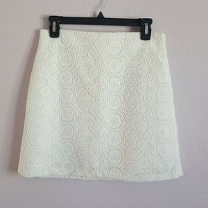 Zara A Line White Paisley Mini Skirt